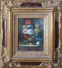 Unidentified 19th c. Flower bouquet oil on board