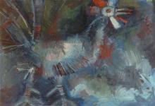 Unidentified Israeli Painter Chicken, 1965 oil on canvas