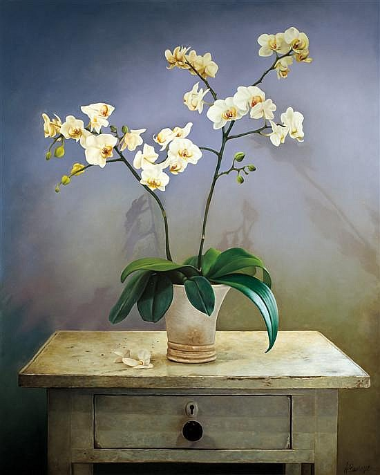 **Albert Benaroya b.1963 (Israeli) Still life with orchids oil on canvas