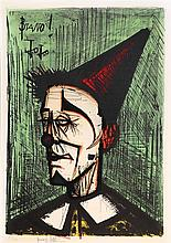 **Bernard Buffet 1928-1999 (French) Bravo! Jo Jo, 1968 (from Mon Cirque series) color lithograph, published by Fernand Mourlot, Paris