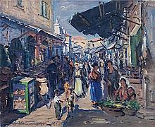 **Ludwig Blum 1891-1975 (Israeli) Marketplace in Jerusalem, 1958 oil on canvas