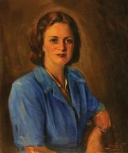 **Ludwig Blum 1891-1975 (Israeli) Portrait of a woman, 1944 oil on canvas