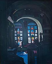 **Ludwig Blum 1891-1975 (Israeli) Misgav Ladakh synagogue in the Jewish Quarter of Jerusalem, 1944 oil on canvas