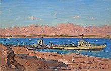 **Ludwig Blum 1891-1975 (Israeli) Ships in Eilat, 1957 oil on canvas
