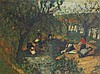 **Arbit Blatas 1908-1999 (Lithuanian) Laundry day by the river oil on canvas, Arbit Blatas, $4,950