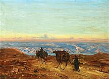 Ludwig Blum 1891-1975 (Israeli) Dead Sea landscape with camels, 1941 oil on canvas