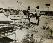 Boris Carmi 1914 - 2002 (Russian, Israeli) Makeshift accommodation for new immigrants original photograph