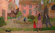 Gregoire Michonze 1902-1982 (Romanian, French) Figures in a village, 1976 oil on canvas
