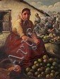 Eastern European School Apple vendor oil on canvas mounted on cardboard