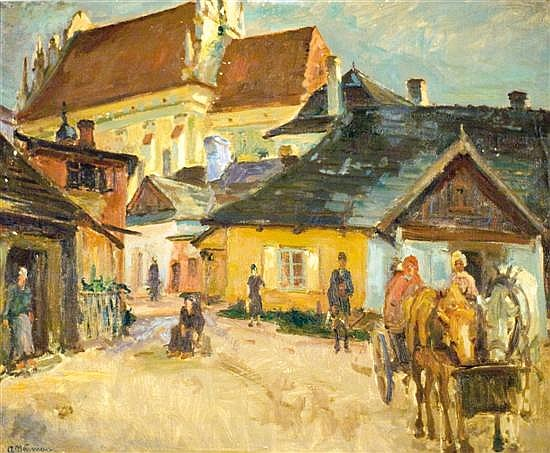 Abraham Neumann 1873-1942 (Polish) Shtetl in Poland oil on canvas mounted on cardboard