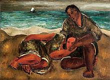 Israel Paldi 1892-1979 (Israeli) Two reclining figures in seascape, 1926 oil on canvas