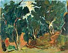 **Nachum Gutman 1898-1980 (Israeli) Figure and donkey in a grove, 1952 oil on canvas