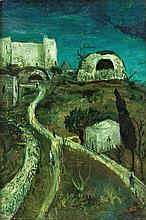 Moshe Castel 1909-1991 (Israeli) On the road to Hebron, Rachel's tomb, 1930's oil on canvas