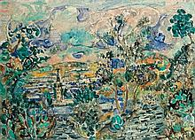 Menachem Shemi 1897-1951 (Israeli) Safed landscape oil on canvas