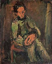 Moshe Mokady 1902-1975 (Israeli) Figure in green, 1929 oil on panel
