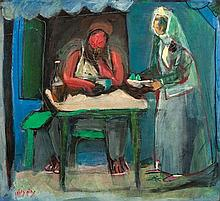 Nachum Gutman 1898-1980 (Israeli) Kiosk in Neve Tzedek, 1938 gouache and pastel crayons on paper mounted on canvas