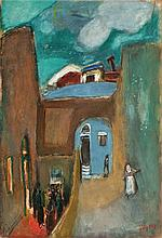 Nachum Gutman 1898-1980 (Israeli) Hassidim in Safed oil and mixed media on paper mounted on canvas