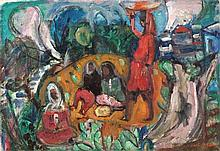 Menachem Shemi 1897-1951 (Israeli) Women in the village oil on canvas
