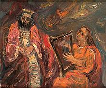 **Yitzhak Frenkel Frenel 1899-1981 (Israeli) David jouant de la harpe devant le roi Sal oil on canvas