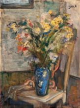 Aharon Avni 1906-1951 (Israeli) Flowers oil on canvas