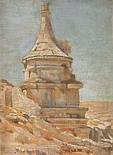 Shmuel Charuvi 1897-1965 (Israeli) Tomb of Avshalom oil on canvasboard