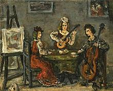 **Moshe Castel 1909-1991 (Israeli) Musical interlude oil on canvas