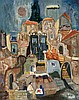 **Mordechai Levanon 1901-1968 (Israeli) Safed oil on canvas