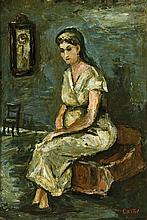 **Moshe Castel 1909-1991 (Israeli) Shabbat wife oil on canvas