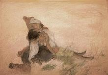 **Abel Pann 1883-1963 (Israeli, Latvian) Hagar and Ishmael pastel crayons on cardboard