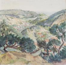 **Paul-Emile Pissarro 1884-1972 (French) Paysage vallon dans le midi watercolor on paper