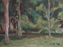 Zvi Shor 1898-1979 (Israeli) Trees oil on cardboard