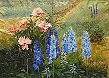 **P. Arnon 20th century Les delphiniums oil on canvas