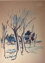 David Hendler 1904-1984 (Israeli) Trees watercolor on paper
