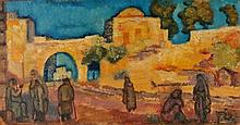 Arieh Allweil 1901-1967 (Israeli) Figures in a landscape oil on paper mounted on masonite