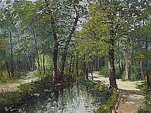 **Georges Guerin b.1910 (French) Bois de Boulogne oil on canvas