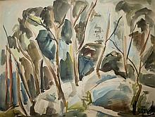 Leo Kahn 1894-1983 (Israeli) Landscape watercolor and pen on paper