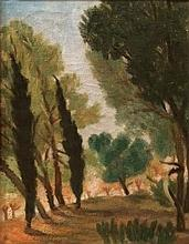 Avraham Naton 1906-1959 (Israeli) The Yarkon landscape oil on canvas