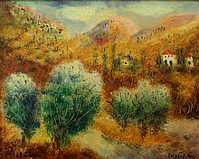 Albert Goldman b. 1922 (Israeli) Galilee landscape oil on canvas