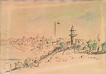 Unknown artist Tel Aviv landscape watercolor on paper