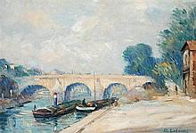 Attributed to Albert Lebourg 1849-1928 (French) La Seine a Paris oil on canvas