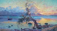 Maurice Milliere 1871-1946 (French) Coucher sur soleil de la Guadeloupe, 1927 oil on canvas