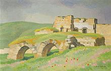 Shmuel Charuvi 1897-1965 (Israeli) Landscape with ruins oil on canvas