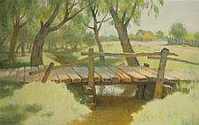 Shmuel Charuvi 1897-1965 (Israeli) Landscape with wooden bridge over stream oil on canvas