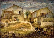 Arieh Allweil 1901-1967 (Israeli) Courtyard in Shfeya, 1929 oil on canvas