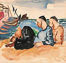Israel Paldi 1892-1979 (Israeli) Two fishermen, 1929 watercolor on paper