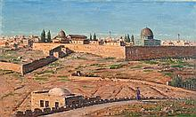 **Ludwig Blum 1891-1975 (Israeli) Jerusalem view from the Mount of Olives, 1954 oil on canvas
