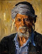 **Ludwig Blum 1891-1975 (Israeli) Portrait of Yemenite Jew, 1956 oil on canvas