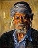 **Ludwig Blum 1891-1975 (Israeli) Portrait of Yemenite Jew, 1956 oil on canvas