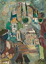 Mordechai Levanon 1901-1968 (Israeli) Safed, 1962 oil on canvas