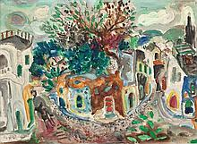 Menachem Shemi 1897-1951 (Israeli) Safed, 1950 oil on canvas